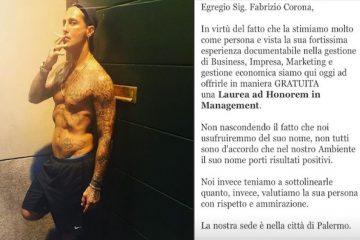 Un'università di Palermo vuole dare una laurea a Fabrizio Corona