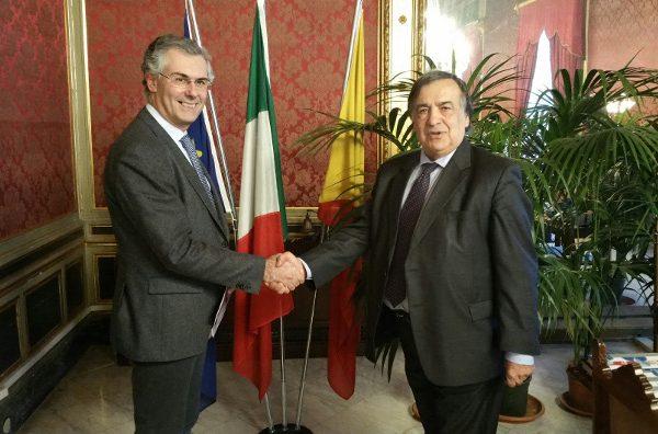 Fabrizio Micari e Leoluca Orlando