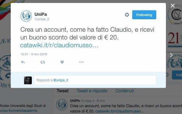 Gaffe di Unipa su twitter, postato per errore link a sito di aste online