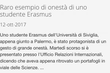 """Unipa parla di """"raro esempio di onestà di uno studente Erasmus"""", poi rimuove la news"""