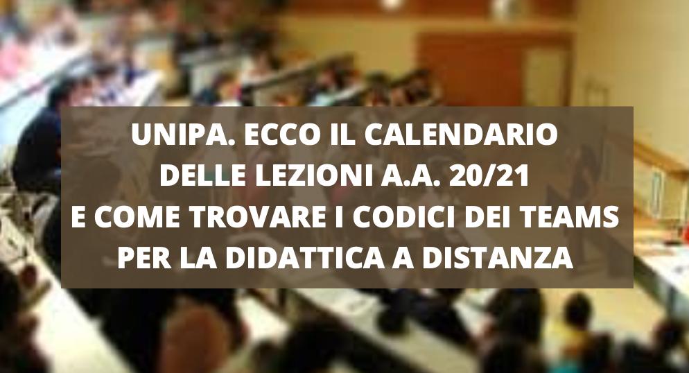 Unipa. Calendario delle Lezioni A.A. 20/21 e Come trovare i Codici